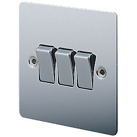 LAP 3-Gang 2-Way 10AX Light Switch Polished Chrome
