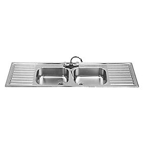 Franke Square Inset Kitchen Sink Stainless Steel 2 Bowl LH/RH 1800 x 180mm