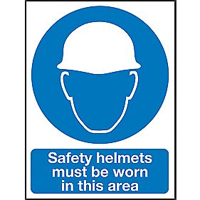 """Safety Helmets Must Be Worn In This Area"" Sign 400 x 300mm"