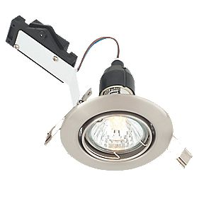 LAP Adjustable Round Mains Voltage Downlight Brushed Chrome Effect 240V
