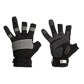 Snickers Specialist Handling Open-Finger Craftsmans Gloves Black X Large