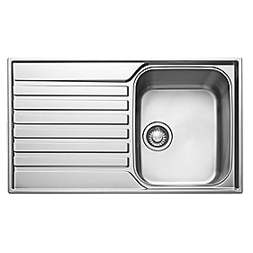 Franke Ascona Inset Sink S/Steel 1 Bowl & Reversible Drainer 860 x 175mm