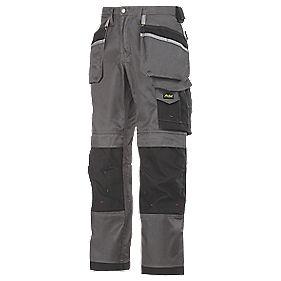 "Snickers 3212 DuraTwill Trousers Grey/Black 30"" W 30"" L"