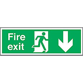 """Fire Exit"" Down Arrow Signs 150 x 450mm Pack of 50"