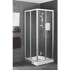 Swirl Corner Entry Shower Enclosure White 800 x 800mm