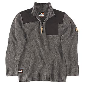 "Scruffs Half-Zip Knit Jumper Charcoal Marl Large 45"" Chest"