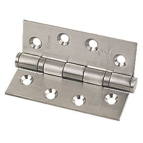 Fire Door Hinge Grade 13 Satin Stainless Steel 102 x 76mm Pack of 3