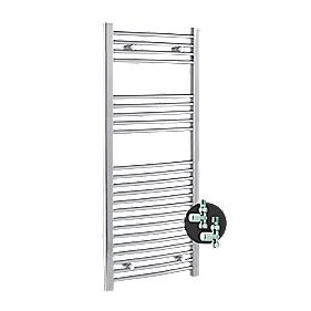 Kudox Curved Towel Rail + Free Valves Chrome 500 x 1100mm 358W 1222Btu