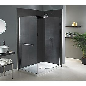 Aqualux Shine Walk-In Silver Effect Shower Enclosure with Tray 1400 x 900mm