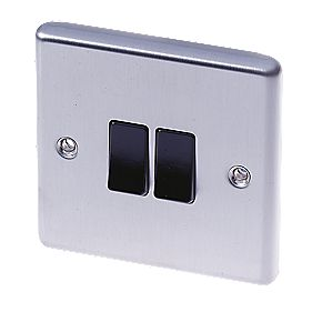 LAP 2-Gang 2-Way 10AX Light Switch Stainless Steel