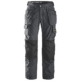 "Snickers Rip-Stop Pro-Kevlar Floorlayer Trousers Grey/Black 38"" W 32"" L"