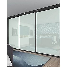 Sliding Wardrobe Doors Black Frame White Glass Panel 3-Door 2672 x 2330mm