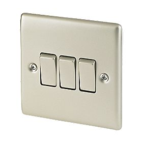 British General 3-Gang 2-Way 10AX Light Switch Pearl Nickel