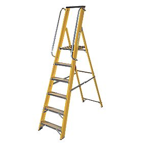 Lyte Platform Ladder with Safety Handrails 6-Tread 1.89m