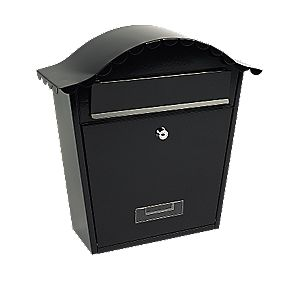 Sterling Classic Post Box Black Powder-Coated Steel