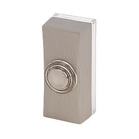 Byron Wired Illuminated Bell Push Brushed Nickel 95 x 35mm