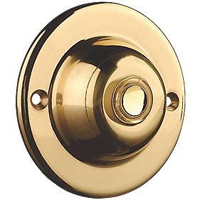 Byron Wired Illuminated Bell Push Brass 95 x 35mm