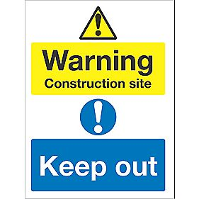 """Warning Construction Site Keep Out"" Sign 400 x 300mm"