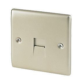 British General 1-Gang Master Telephone Socket Pearl Nickel