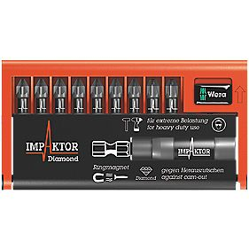 Wera TriTorsion Impaktor Diamond Pozi Bit-Check 10 Piece Set