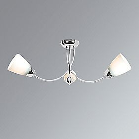 Jayne 3-Light Ceiling Light Chrome Effect Plate 600 x 220 x 220mm