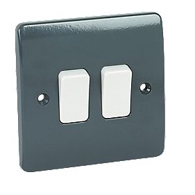MK Logic Plus 2-Gang 2-Way 10A SP Light Switch with Wide Rocker Graphite