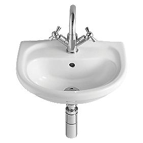 Lulworth Cloakroom Basin & Bottle Trap 1 Tap Hole 440mm