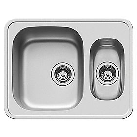 Pyramis Athena 1½ Bowl Undermount Square Sink Stainless Steel