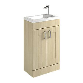 Unbranded 500mm Vanity Shaker Basin Unit Oak 500mm Pack of 2 Oak