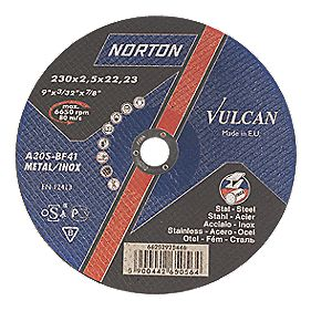 Norton Vulcan Metal Cutting Discs 230 x 2.5 x 22.23mm Bore Pack of 5