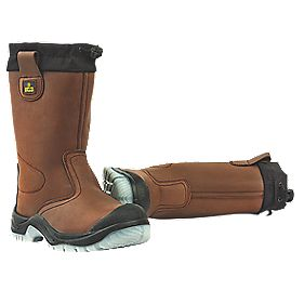 Amblers Drawstring Top Rigger Boots Brown Size 12