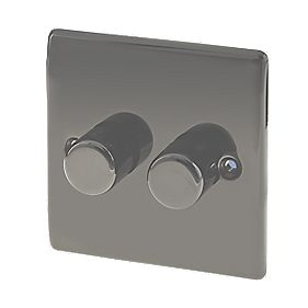 British General 2-Gang 2-Way Push Dimmer Switch 400W Black Nickel