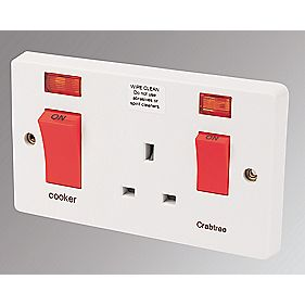 Crabtree 45A 2-Gang Cooker Switch & 13A Plug Socket with Neon White