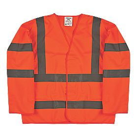 "Hi-Vis Sleeved Waistcoat Orange Small / Medium 47"" Chest"