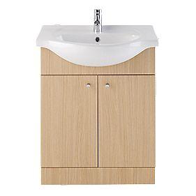 Vanity Bathroom Basin Unit Natural Oak 650mm