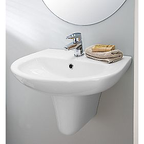Space Saver Semi-Pedestal Bathroom Basin 1 Tap Hole 550mm