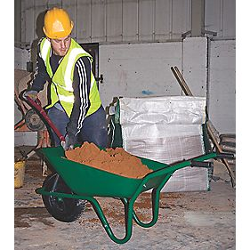 Walsall Wheelbarrows Easiload Pneumatic Builders Wheelbarrow Green 85Ltr