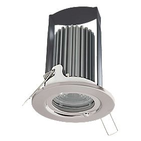 British General 30, 60 & 90min Fire Rated Fixed LED Downlight IP65 Brushed Steel 7W