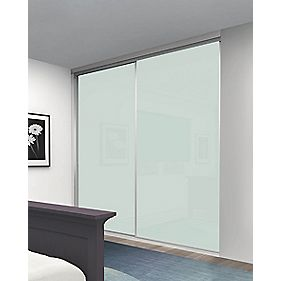 Sliding Wardrobe Doors Silver Frame White Glass Panel 2-Door 1485 x 2330mm