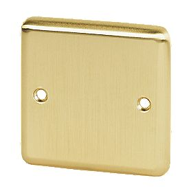 Volex 1-Gang Blank Plate Brushed Brass Round Edge