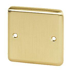 Volex 1-Gang Blank Plate Brushed Brass Round Edge