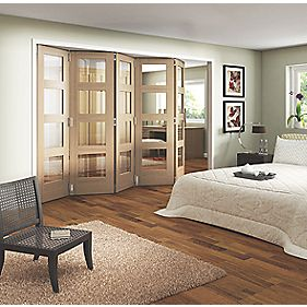 Jeld-Wen Glazed 5-Door Internal Room Divider Oak Veneer 3164 x 2044mm