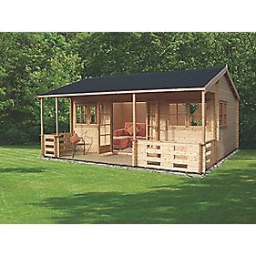 Sherwood Log Cabin 5.9 x 5.3 x 3m Assembly Included
