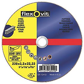Flexovit Metal Cutting Discs 230 x 3.2 x 22mm Bore Pack of 25