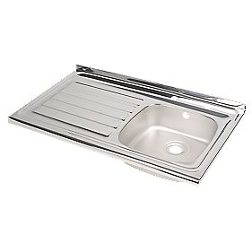 Astracast Kitchen Sink Stainless Steel 1 Bowl Left Hand Drainer 100 x 600mm