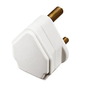 British General 5A Round Pin Plug White