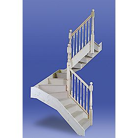 Unbranded Stairways Turned Middle Winder Staircase LH Unfinished