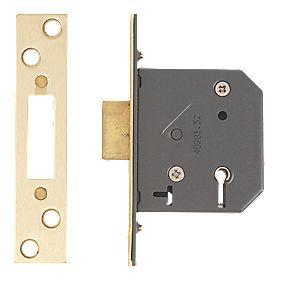 "Yale 5-Lever Mortice Deadlock Polished Brass "" / 64mm"
