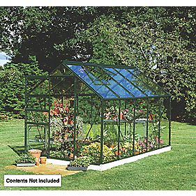 "Halls Popular Greenhouse Green Toughened Glass 10'6"" x 5'10"" x 6'3"""