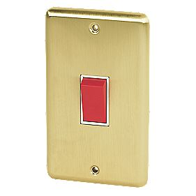 Volex 45A DP Switch Wht Ins Brushed Brass Round Edge